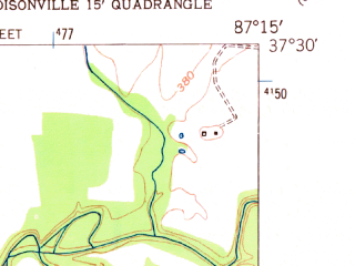 Reduced fragment of topographic map en--usgs--024k--039124--(1952)--N037-30-00_W087-22-30--N037-22-30_W087-15-00; towns and cities Sacramento