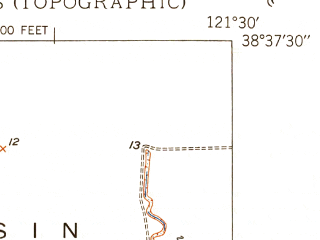 Reduced fragment of topographic map en--usgs--024k--039130--(1949)--N038-37-30_W121-37-30--N038-30-00_W121-30-00; towns and cities West Sacramento
