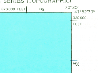 Reduced fragment of topographic map en--usgs--024k--039168--(1951)--N041-52-30_W070-37-30--N041-45-00_W070-30-00; towns and cities Buzzards Bay, Sagamore