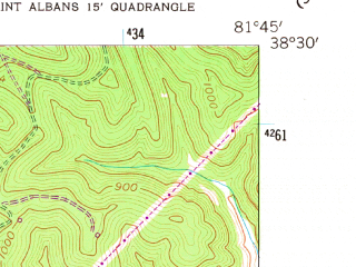 Reduced fragment of topographic map en--usgs--024k--039212--(1958)--N038-30-00_W081-52-30--N038-22-30_W081-45-00; towns and cities Cross Lanes, St. Albans, Nitro, Poca