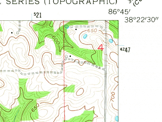 Reduced fragment of topographic map en--usgs--024k--039219--(1955)--N038-22-30_W086-52-30--N038-15-00_W086-45-00