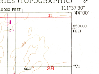 Reduced fragment of topographic map en--usgs--024k--039221--(1950)--N044-00-00_W111-45-00--N043-52-30_W111-37-30; towns and cities St. Anthony, Teton
