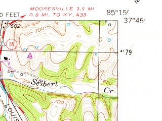 Reduced fragment of topographic map en--usgs--024k--039227--(1953)--N037-45-00_W085-22-30--N037-37-30_W085-15-00