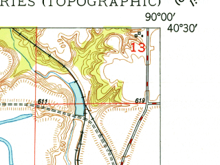 Reduced fragment of topographic map en--usgs--024k--039253--(1948)--N040-30-00_W090-07-30--N040-22-30_W090-00-00; towns and cities Bryant, Dunfermline, Liverpool