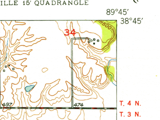 Reduced fragment of topographic map en--usgs--024k--039287--(1949)--N038-45-00_W089-52-30--N038-37-30_W089-45-00; towns and cities St. Jacob