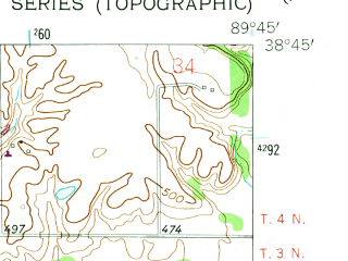 Reduced fragment of topographic map en--usgs--024k--039287--(1954)--N038-45-00_W089-52-30--N038-37-30_W089-45-00; towns and cities St. Jacob