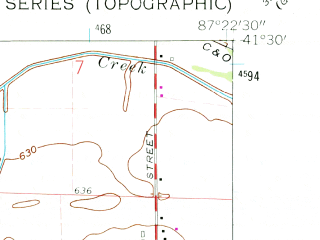 Reduced fragment of topographic map en--usgs--024k--039301--(1962)--N041-30-00_W087-30-00--N041-22-30_W087-22-30; towns and cities Schererville, St. John
