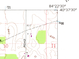 Reduced fragment of topographic map en--usgs--024k--039350--(1960)--N040-37-30_W084-30-00--N040-30-00_W084-22-30; towns and cities St. Marys