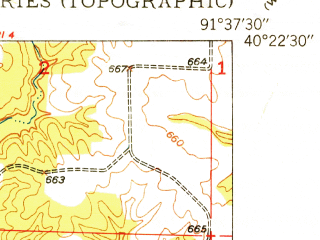 Reduced fragment of topographic map en--usgs--024k--039366--(1950)--N040-22-30_W091-45-00--N040-15-00_W091-37-30; towns and cities St. Patrick