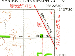 Reduced fragment of topographic map en--usgs--024k--039377--(1961)--N041-07-30_W098-30-00--N041-00-00_W098-22-30