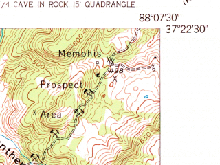 Reduced fragment of topographic map en--usgs--024k--039423--(1954)--N037-22-30_W088-15-00--N037-15-00_W088-07-30; towns and cities Salem