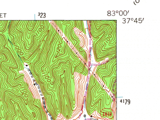 Reduced fragment of topographic map en--usgs--024k--039547--(1962)--N037-45-00_W083-07-30--N037-37-30_W083-00-00; towns and cities Salyersville