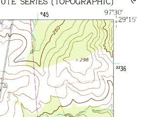 Reduced fragment of topographic map en--usgs--024k--039556--(1961)--N029-15-00_W097-37-30--N029-07-30_W097-30-00