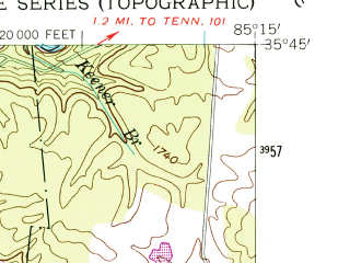 Reduced fragment of topographic map en--usgs--024k--039559--(1954)--N035-45-00_W085-22-30--N035-37-30_W085-15-00