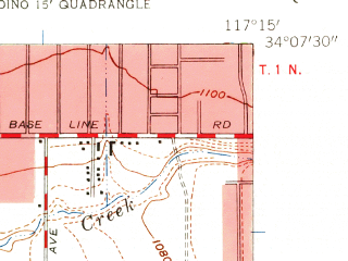 Reduced fragment of topographic map en--usgs--024k--039596--(1954)--N034-07-30_W117-22-30--N034-00-00_W117-15-00; towns and cities Colton, Grand Terrace, Loma Linda, Highgrove