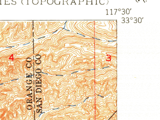 Reduced fragment of topographic map en--usgs--024k--039602--(1949)--N033-30-00_W117-37-30--N033-22-30_W117-30-00; towns and cities San Clemente
