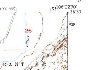 Reduced fragment of topographic map en--usgs--024k--039616--(1954)--N035-30-00_W106-30-00--N035-22-30_W106-22-30; towns and cities San Felipe Pueblo