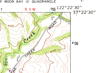 Reduced fragment of topographic map en--usgs--024k--039627--(1961)--N037-22-30_W122-30-00--N037-15-00_W122-22-30