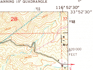 Reduced fragment of topographic map en--usgs--024k--039634--(1953)--N033-52-30_W117-00-00--N033-45-00_W116-52-30; towns and cities San Jacinto, Valle Vista