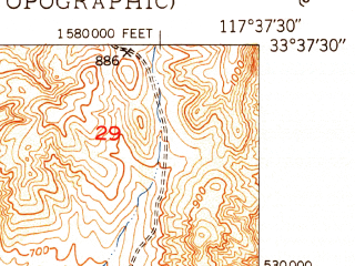 Reduced fragment of topographic map en--usgs--024k--039647--(1949)--N033-37-30_W117-45-00--N033-30-00_W117-37-30; towns and cities Mission Viejo, Laguna Hills, Laguna Niguel, San Juan Capistrano, Aliso Viejo