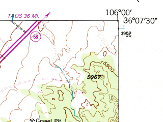 Reduced fragment of topographic map en--usgs--024k--039651--(1953)--N036-07-30_W106-07-30--N036-00-00_W106-00-00; towns and cities Espanola, Alcalde, San Juan