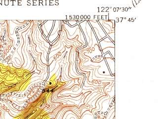 Reduced fragment of topographic map en--usgs--024k--039654--(1947)--N037-45-00_W122-15-00--N037-37-30_W122-07-30; towns and cities San Leandro, San Lorenzo
