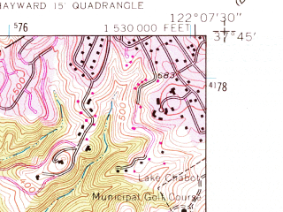 Reduced fragment of topographic map en--usgs--024k--039654--(1959)--N037-45-00_W122-15-00--N037-37-30_W122-07-30; towns and cities San Leandro, San Lorenzo