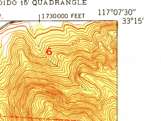 Reduced fragment of topographic map en--usgs--024k--039668--(1949)--N033-15-00_W117-15-00--N033-07-30_W117-07-30; towns and cities Vista, San Marcos