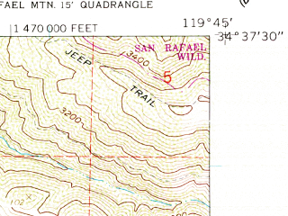 Reduced fragment of topographic map en--usgs--024k--039670--(1959)--N034-37-30_W119-52-30--N034-30-00_W119-45-00