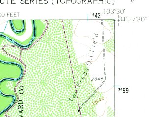 Reduced fragment of topographic map en--usgs--024k--039762--(1961)--N031-37-30_W103-37-30--N031-30-00_W103-30-00