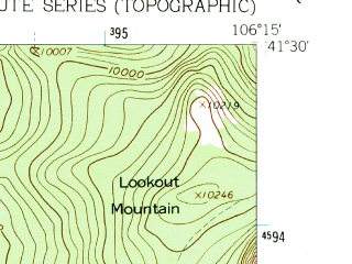 Reduced fragment of topographic map en--usgs--024k--039763--(1961)--N041-30-00_W106-22-30--N041-22-30_W106-15-00