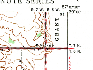 Reduced fragment of topographic map en--usgs--024k--039788--(1943)--N039-00-00_W087-15-00--N038-52-30_W087-07-30; towns and cities Sandborn