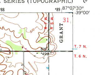 Reduced fragment of topographic map en--usgs--024k--039788--(1958)--N039-00-00_W087-15-00--N038-52-30_W087-07-30; towns and cities Sandborn