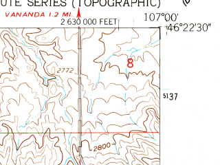 Reduced fragment of topographic map en--usgs--024k--039793--(1960)--N046-22-30_W107-07-30--N046-15-00_W107-00-00