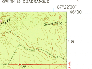 Reduced fragment of topographic map en--usgs--024k--039820--(1952)--N046-30-00_W087-30-00--N046-22-30_W087-22-30