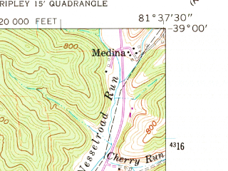 Reduced fragment of topographic map en--usgs--024k--039849--(1960)--N039-00-00_W081-45-00--N038-52-30_W081-37-30