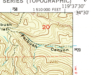 Reduced fragment of topographic map en--usgs--024k--039879--(1952)--N034-30-00_W119-45-00--N034-22-30_W119-37-30; towns and cities Santa Barbara