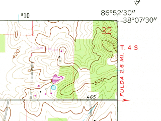 Reduced fragment of topographic map en--usgs--024k--039888--(1960)--N038-07-30_W087-00-00--N038-00-00_W086-52-30; towns and cities Santa Claus
