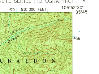 Reduced fragment of topographic map en--usgs--024k--039897--(1961)--N035-45-00_W106-00-00--N035-37-30_W105-52-30; towns and cities Santa Fe