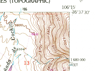 Reduced fragment of topographic map en--usgs--024k--039944--(1953)--N035-37-30_W106-22-30--N035-30-00_W106-15-00; towns and cities Cochiti, Pena Blanca, Santo Domingo Pueblo