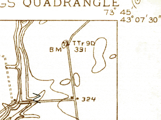Reduced fragment of topographic map en--usgs--024k--039968--(1934)--N043-07-30_W073-52-30--N043-00-00_W073-45-00; towns and cities Saratoga Springs, Ballston Spa, Milton, North Ballston Spa