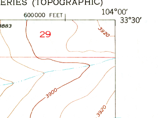 Reduced fragment of topographic map en--usgs--024k--039972--(1949)--N033-30-00_W104-07-30--N033-22-30_W104-00-00