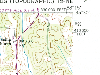 Reduced fragment of topographic map en--usgs--024k--039978--(1949)--N035-30-00_W088-22-30--N035-22-30_W088-15-00; towns and cities Milledgeville, Sardis