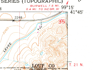 Reduced fragment of topographic map en--usgs--024k--039990--(1952)--N041-45-00_W099-22-30--N041-37-30_W099-15-00; towns and cities Sargent