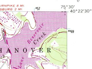 Reduced fragment of topographic map en--usgs--024k--040012--(1957)--N040-22-30_W075-37-30--N040-15-00_W075-30-00; towns and cities Gilbertsville, Pottsgrove