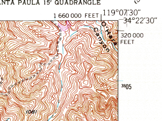 Reduced fragment of topographic map en--usgs--024k--040020--(1951)--N034-22-30_W119-15-00--N034-15-00_W119-07-30