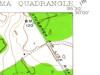 Reduced fragment of topographic map en--usgs--024k--040023--(1916)--N030-00-00_W095-37-30--N029-52-30_W095-30-00; towns and cities Jersey Village