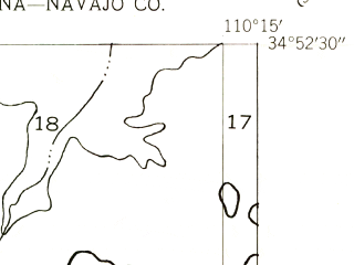 Reduced fragment of topographic map en--usgs--024k--040047--(1955)--N034-52-30_W110-22-30--N034-45-00_W110-15-00