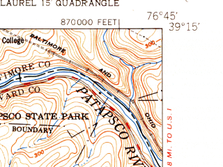 Reduced fragment of topographic map en--usgs--024k--040053--(1950)--N039-15-00_W076-52-30--N039-07-30_W076-45-00; towns and cities Columbia, Elkridge, North Laurel, Jessup, Guilford