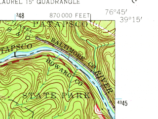 Reduced fragment of topographic map en--usgs--024k--040053--(1957)--N039-15-00_W076-52-30--N039-07-30_W076-45-00; towns and cities Columbia, Elkridge, North Laurel, Jessup, Guilford